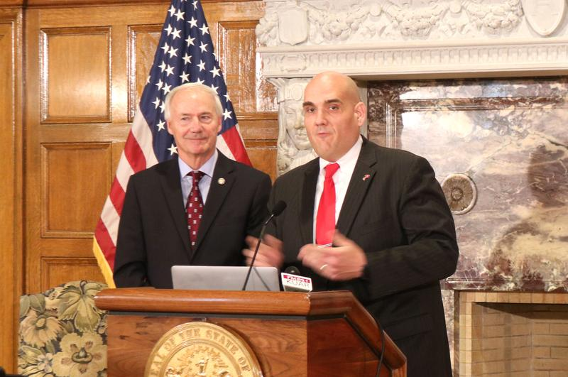 Gov. Asa Hutchinson and Chief State STEM Officer/ State Director of Computer Science Education Anthony Owen