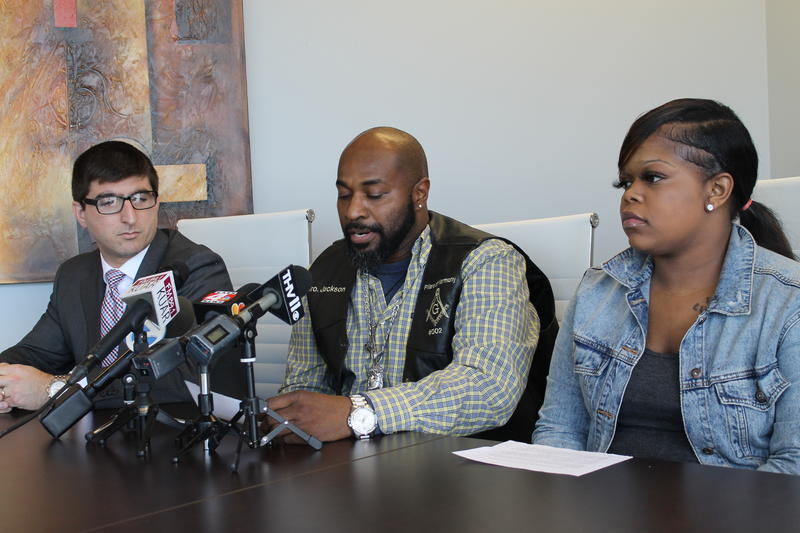 Attorney Solomon Radner (left) with plaintiffs Tyrone Jackson and Tasheara announcing the lawsuit Wednesday. They contend the Power Ultra Lounge was negligent by not providing better security.
