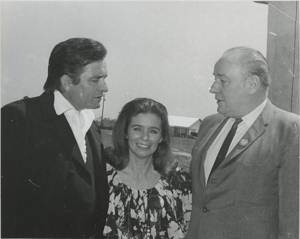 Johnny and June Carter Cash talk with Arkansas Gov. Winthrop Rockefeller at Cummins Prison in 1969.