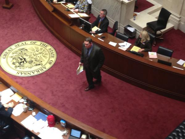 Sen. Bryan King waits before the chamber voted on the voter ID bill.