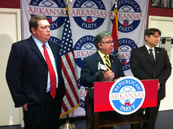 Sen. Bryan King, Chairman Doyle Webb and Secretary of State Mark Martin speak to reporters at the Arkansas Republican Party Headquarters in Little Rock.