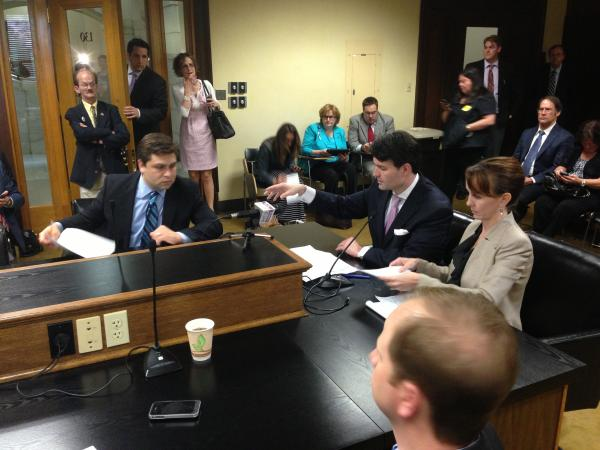 Senators Jonathan Dismang (R-Beebe), David Sanders (R-Little Rock) and Missy Irvin (R-Mountain View) present amendments to SB 1020 in House committee Wednesday afternoon. Bills and appropriations for the so called private option of Medicaid expansion passed the Arkansas legislature Wednesday.