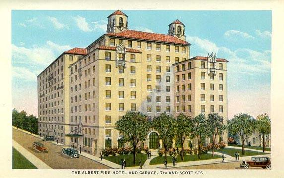 A vintage postcard of the Albert Pike Hotel in Little Rock.