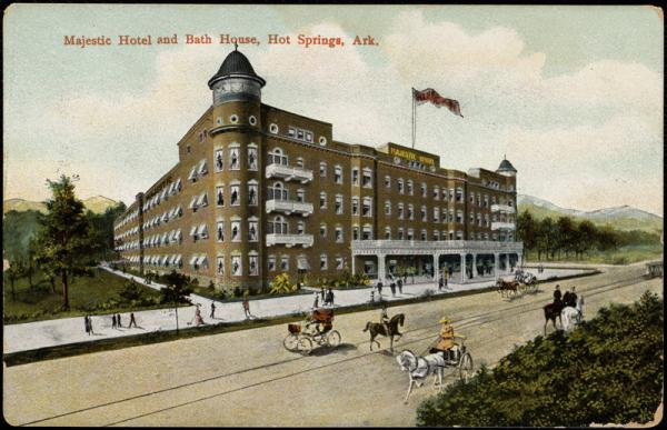A postcard of the Majestic Hotel in Hot Springs.