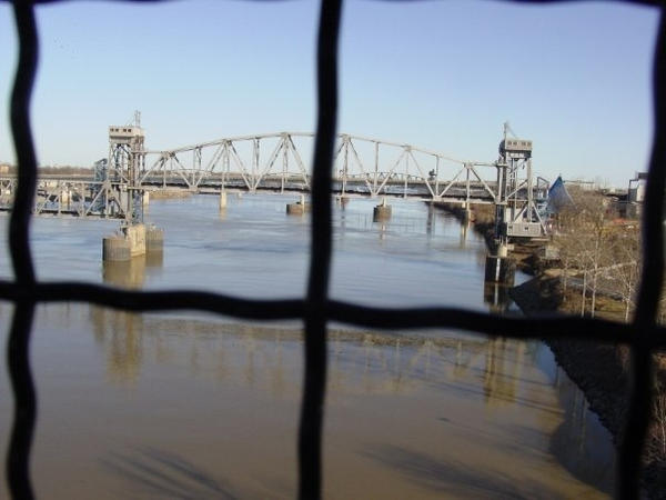 The Arkansas River in Little Rock, as seen from a streetcar.