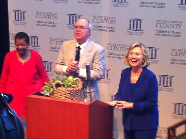 Former Secretary of State Hillary Clinton with Marian Lacey, Vice-President of the CALS Board of Directors and library Director Bobby Roberts.