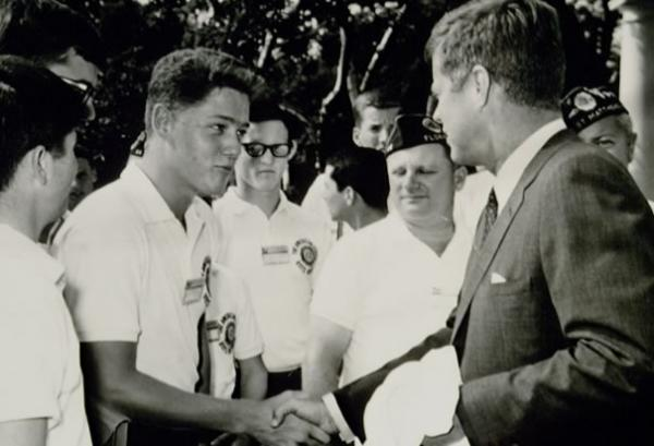 Bill Clinton meeting President Kennedy on July 24, 1963 at the White House.