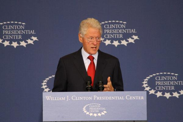 Former President Bill Clinton speaks Wednesday at his presidential library in Little Rock.