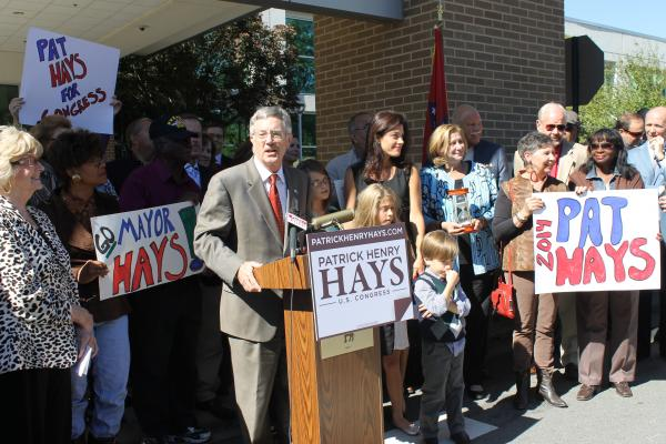 Surrounded by supporters, former North Little Rock Mayor Pat Hays announces his candidacy for Congress.