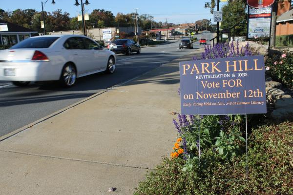 Signs line John F. Kennedy Boulevard in Park Hill asking voters to support the alcohol proposal.