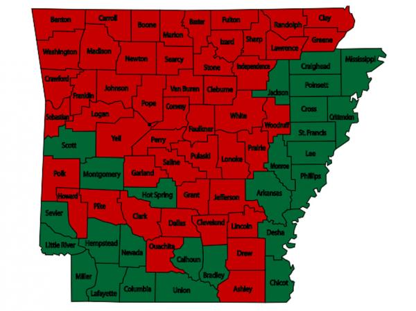 Red counties are those with burn bans in place, as of 2 pm Monday