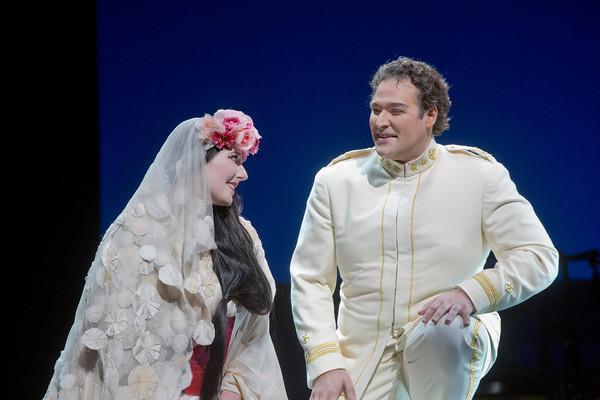 "Amanda Echalaz as Cio-Cio-San and Bryan Hymel as Pinkerton in Puccini's ""Madama Butterfly."""