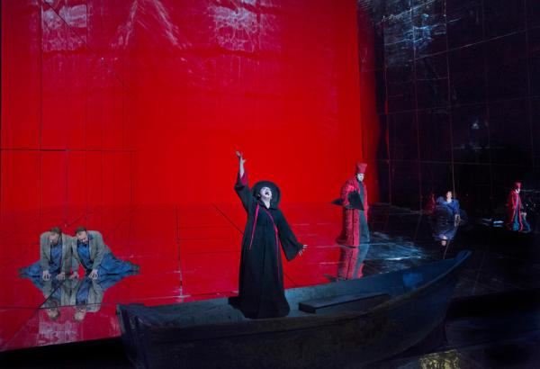 "A scene from Richard Strauss's ""Die Frau ohne Schatten"" with Johan Reuter as Barak, Ildikó Komlósi as the Nurse, Richard Paul Fink as the Messenger of Keikobad, and Christine Goerke as the Dyer's Wife."