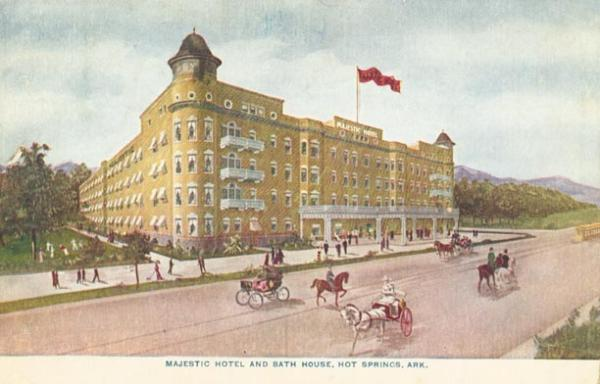 A vintage postcard of the Majestic Hotel in its early days.