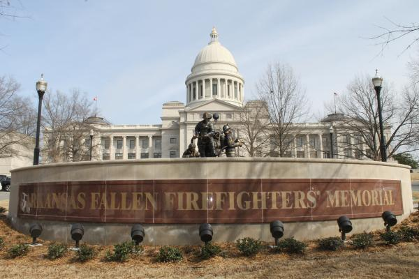The front of the Arkansas Fallen Firefighters Memorial.