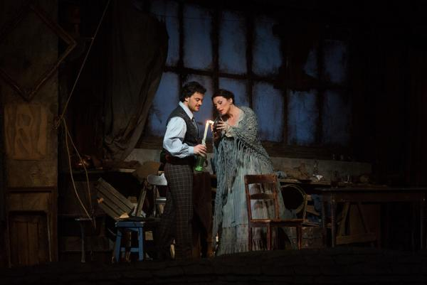 "Vittorio Grigolo as Rodolfo and Anita Hartig in her Met debut as Mimì in Puccini's ""La Bohème"" on March 19, 2014."