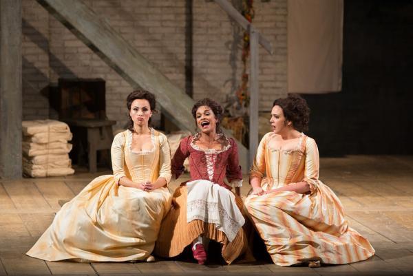 "Isabel Leonard as Dorabella, Danielle de Niese as Despina, and Susanna Phillips as Fiordiligi in Mozart's ""Così fan tutte."""