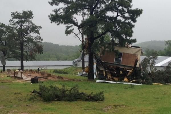 A mobile home that was knocked off its foundation near Russellville.