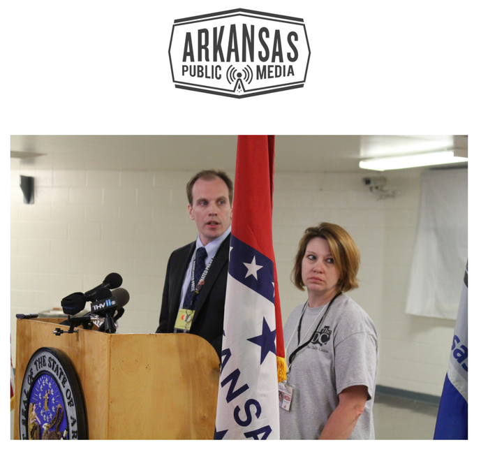 Andrew Demillo of the Associated Press (L) and Tracy Whitaker of The Searcy Daily Citizen (R)