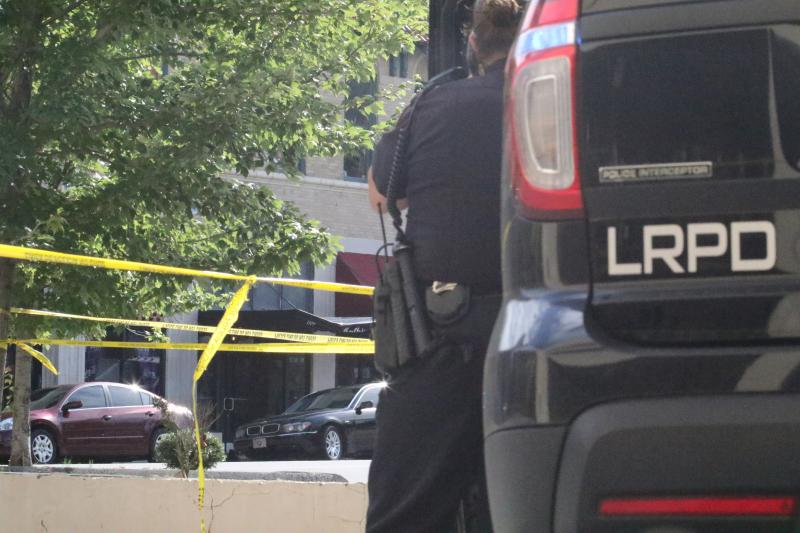Little Rock police cordoned off most of a city block in the 200 block of W. 6th St.