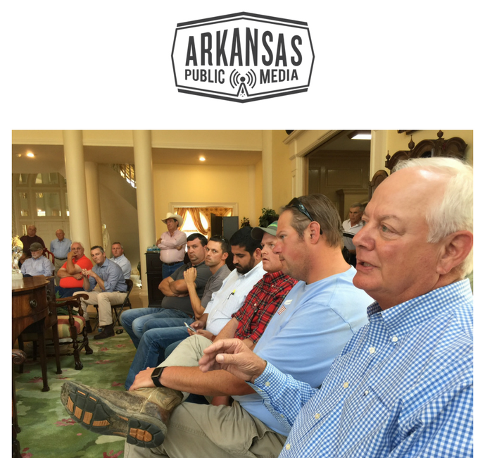 Farmers from around Mississippi County met with Gov. Hutchinson at the Adams Estate during his series of town-hall style meetings around rural Arkansas.