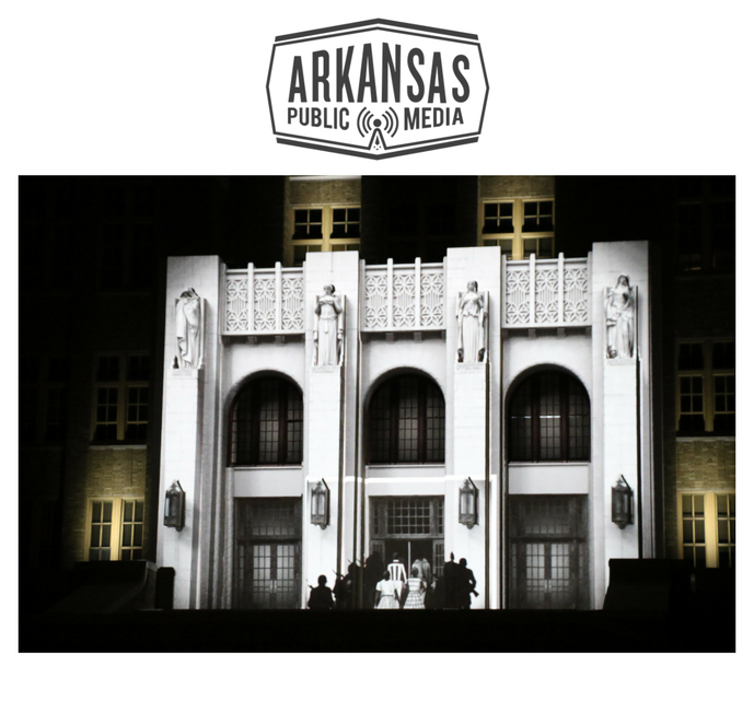 "From a projection on to Little Rock's Central High School Sunday night called ""Imagine if Buildings Could Talk"""