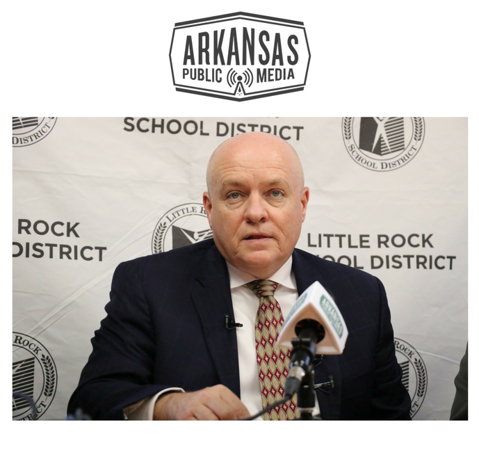 Little Rock School District Superintendent Michael Poore at a press conference Monday
