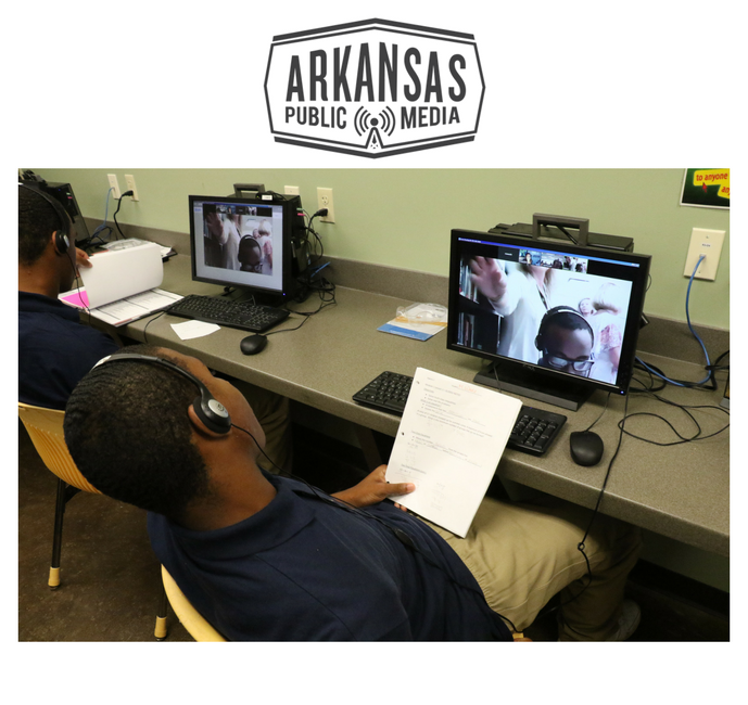 "Students at the Harrisburg lockup ""zoom"" with their teachers on Virtual Arkansas."