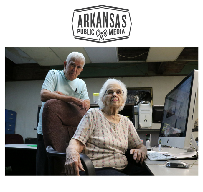 Dean and Charles Walls at their newspaper's office in Des Arc