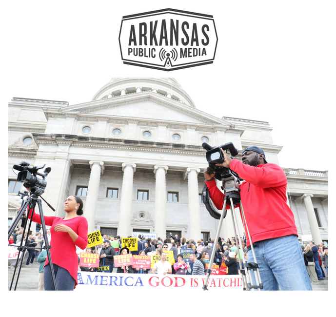 Media joined the throng of anti-abortion protestors, who stood on and before the Arkansas Capitol steps to hear politicians decry abortion and celebrate anti-abortion court cases and legislation.