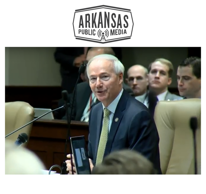 Gov. Asa Hutchinson defended his budget earlier this year before the legislative Joint Budget Committee.