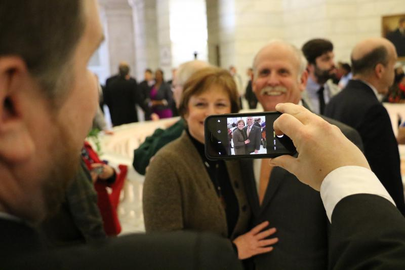 State Rep. Bob Ballinger (R-Hindville) takes a photo of Sheila and state Rep. Rick Beck (R-Center Ridge).