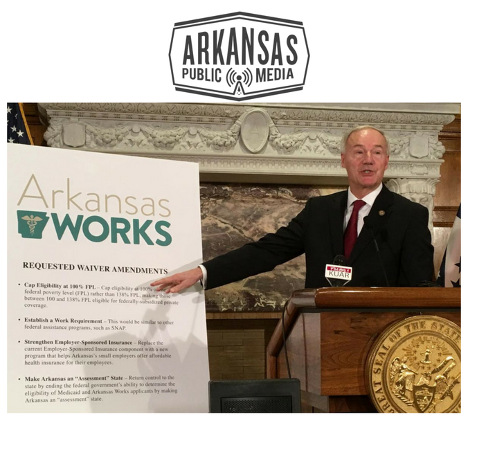 Governor Asa Hutchinson outlines his Medicaid waiver request at a press conference in 2017.