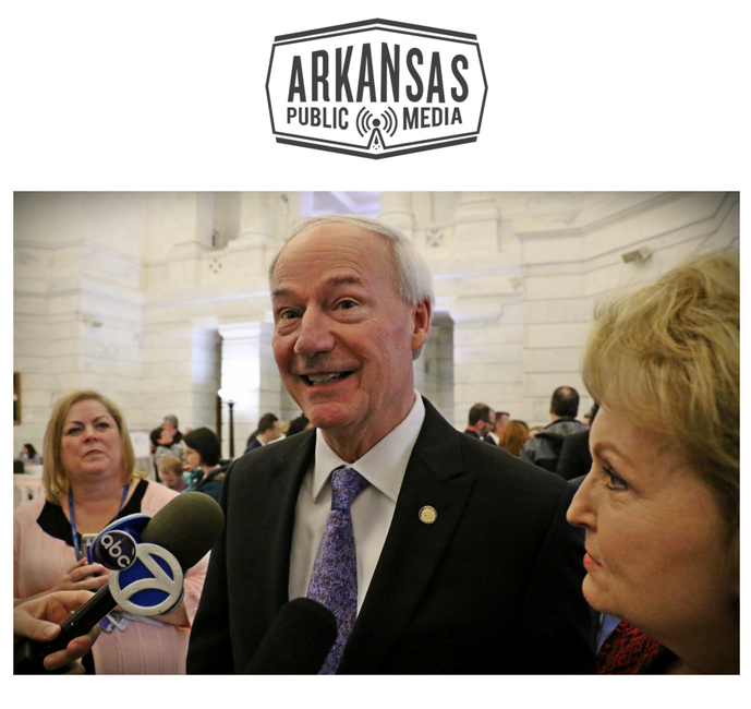 Gov. Asa Hutchinson speaks to media before filing to run, perhaps for the last time.