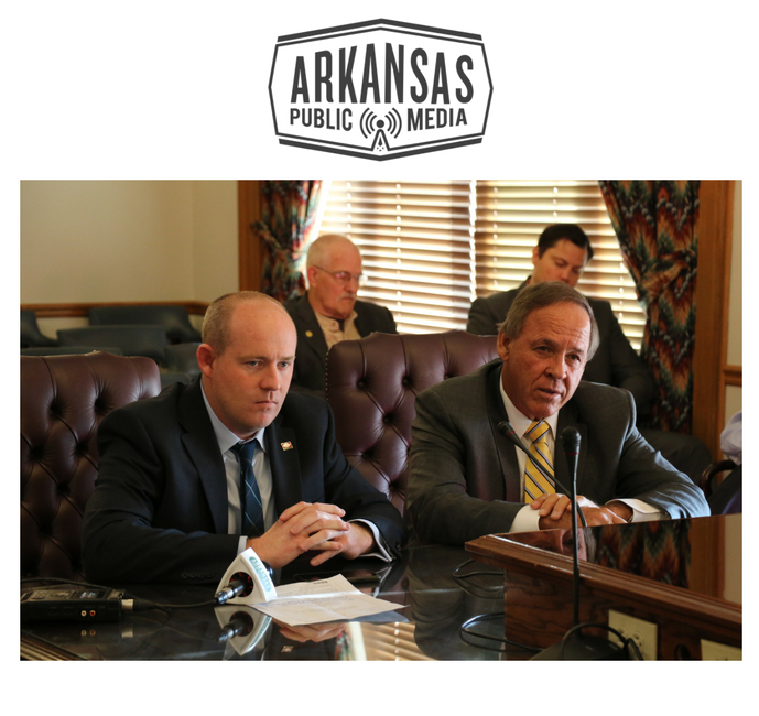 Rep. Jeff Wardlaw (right) and Sen. Gary Stubblefield (left) speaking in support of their bill before a Senate committee Wednesday morning