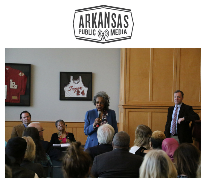 Little Rock resident Joyce Williams, 81, speaks during the questions period at the panel event.