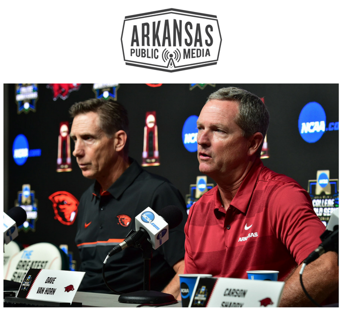 Oregon State baseball coach Pat Casey and Arkansas coach Dave Van Horn at a press conference ahead of today's opener in the College World Series finals.