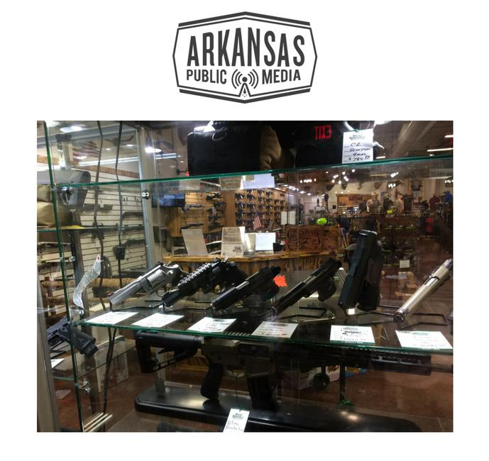 An array of handguns displayed for sale at a Tontitown gun retailer would be off-limits to registered Arkansas medical marijuana patients.