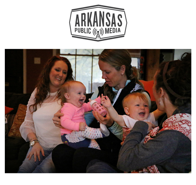 Jessica Dziurkowski with daughter Hannah, and Holly Parker with son Atlas