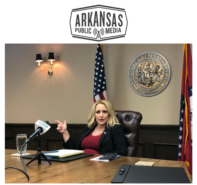 Arkansas Attorney General Leslie Rutledge speaks with reporters at a closed-door press conference in her downtown Little Rock office.