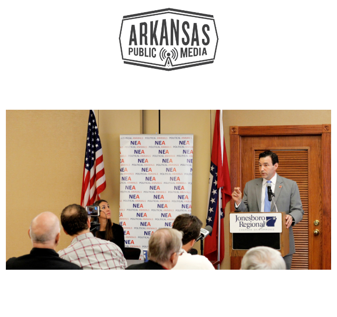 Chad Gallagher, a former mayor of DeQueen, speaks against Issue One at a meeting of NEA Political Animals at the Jonesboro Chamber of Commerce on Friday, Sept. 7, 2018.
