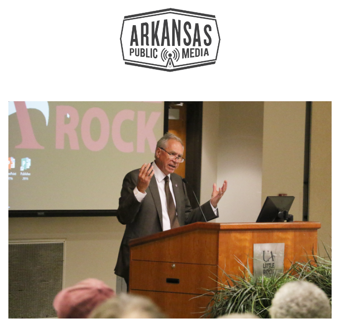 UA Little Rock Chancellor Andrew Rogerson addresses faculty and staff at a campus meeting at the school's Donaghey Student Center.