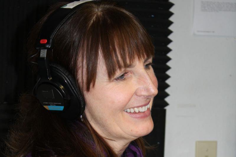 Wendy during a radio pledge drive on KUCB.