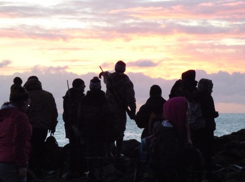 St. Paul School students look out over the Bering Sea