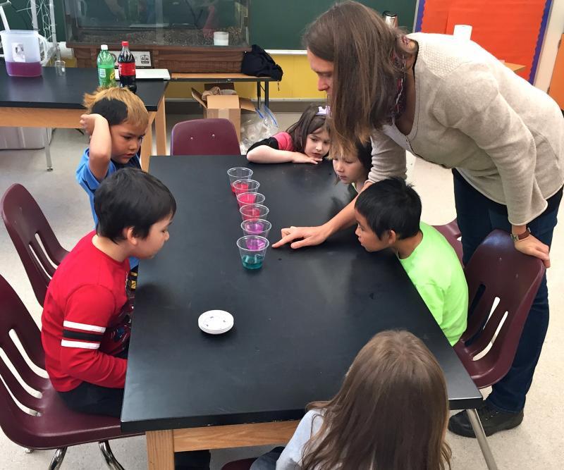 St. Paul students learn the basics of ocean acidification with guest instructor and University of Alaska Fairbanks oceanographer Claudine Hauri.