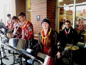 The Drum Labs from Pleasant Grove perform in front of the store.