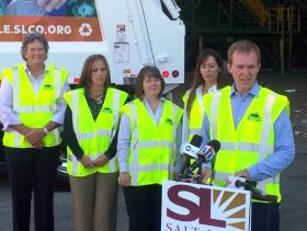"""Kick off event for """"Start and New Cycle- Recycle"""" with Salt Lake County Mayor Ben McAdams. Pictured left to right are Pam Roberts, Executive Director of the Wasatch Front Waste and Recycling District; Sabrina Petersen, District Board Vice Chair; Coralee Wessman-Moser, District Board Chair and Salt Lake County Mayor Ben McAdams."""