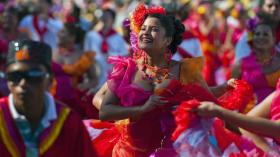 Dancers move to cumbia during a Carnival parade in Barranquilla, Colombia in Feb. 2012.