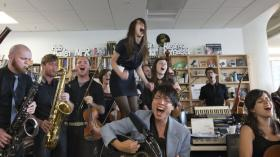 """With 17 members packed into the studio, Mother Falcon took the cake for """"Biggest Band"""" in 2013's Tiny Desk Concert series."""