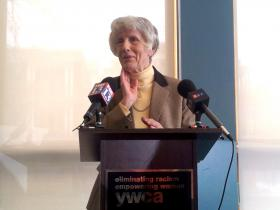 Namesake of The Pamela Atkinson Homeless Trust Fund, Atkinson at the YWCA Center for Families, makes a plea for tax payers to make a donation when they file their 2013 Income Tax Returns.